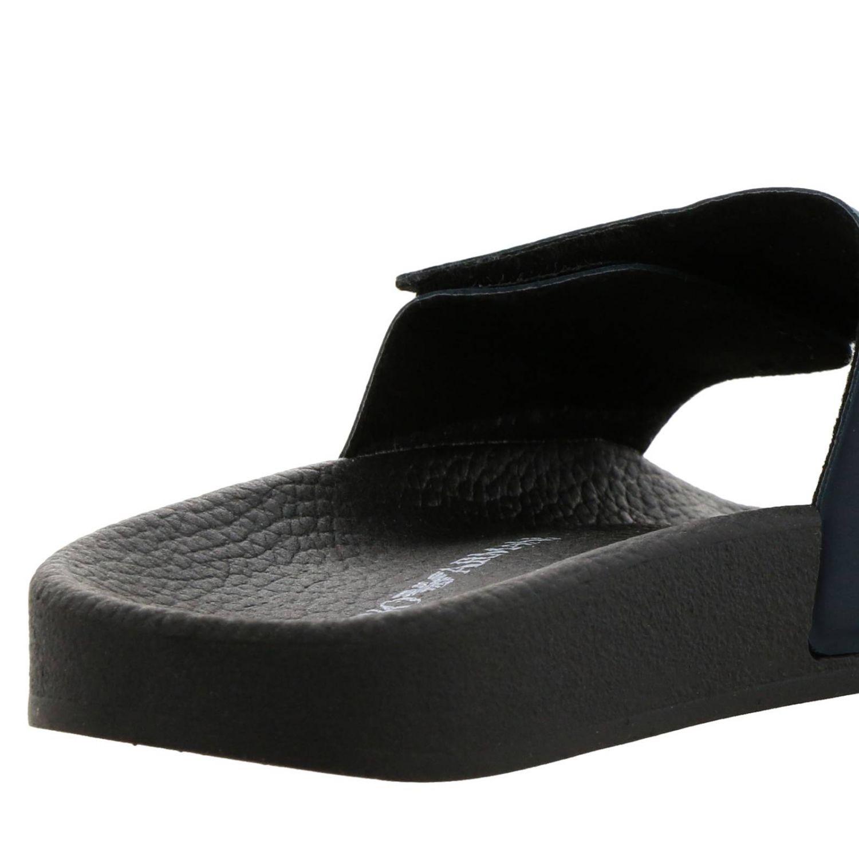 Sandalo a fascia in gomma a strappo con logo Emporio Armani blue 4