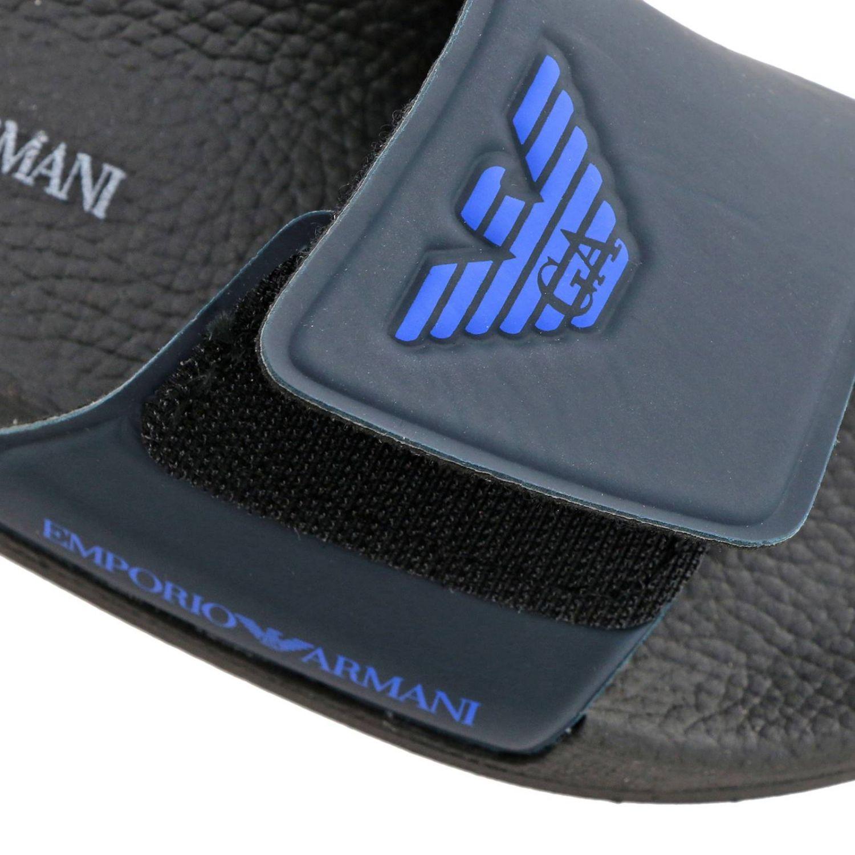 Sandalo a fascia in gomma a strappo con logo Emporio Armani blue 5
