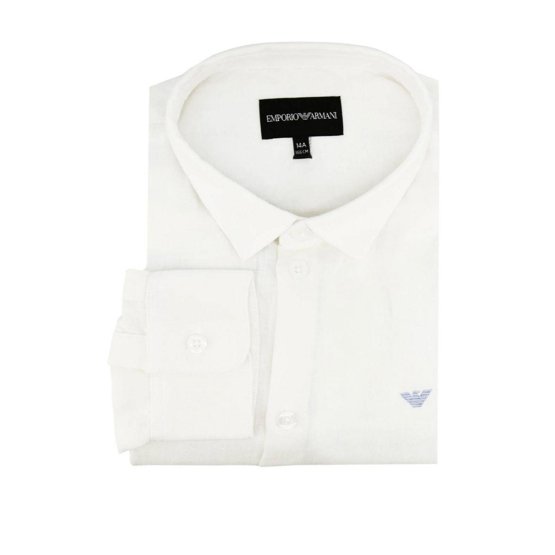 Camicia Emporio Armani in lino con logo aquila bianco 1