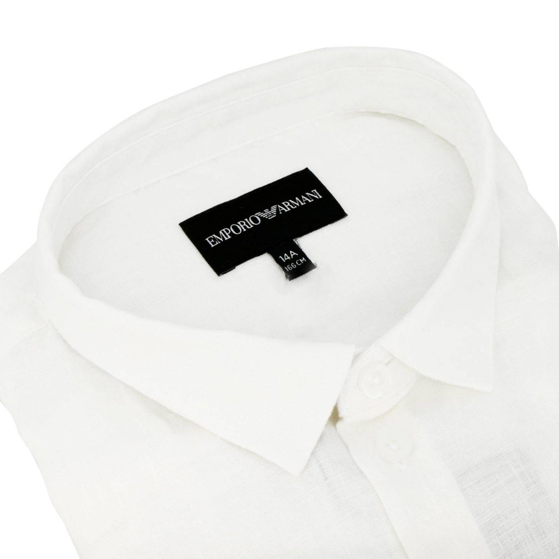 Camicia Emporio Armani in lino con logo aquila bianco 2