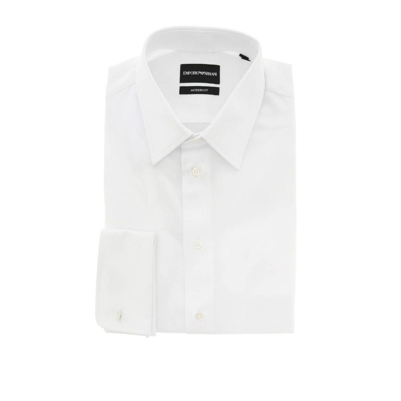Camicia Emporio Armani in tessuto operato con collo italiano e doppi polsi bianco 1