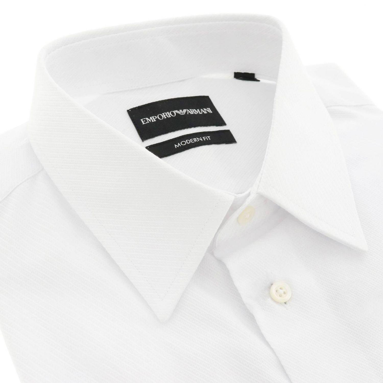 Camicia Emporio Armani in tessuto operato con collo italiano e doppi polsi bianco 2