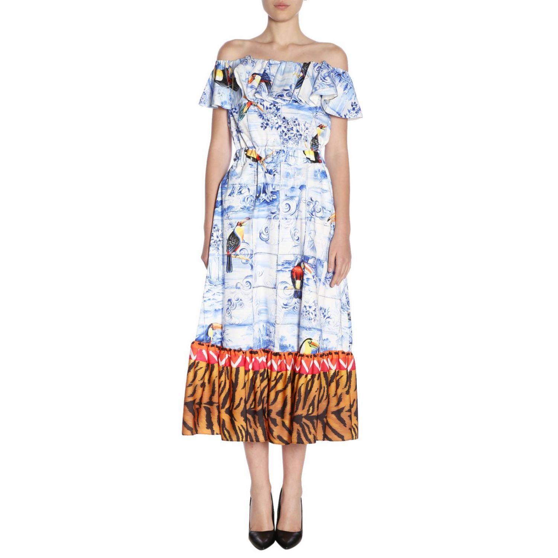 Dress Stella Jean: Dress women Stella Jean gnawed blue 1