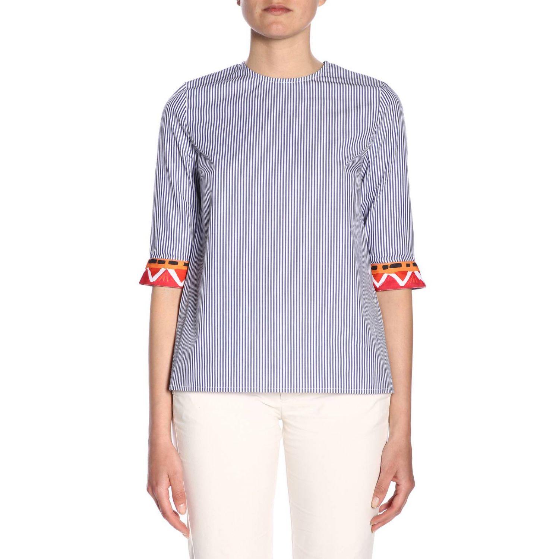 Girocollo cotone bacchettato bordi contrasto blue 1
