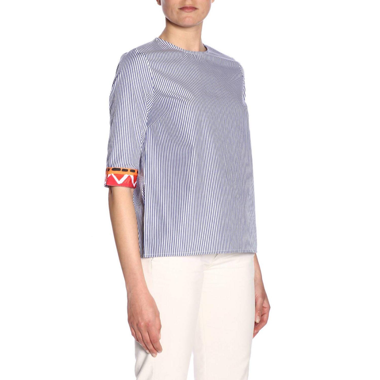 Girocollo cotone bacchettato bordi contrasto blue 2