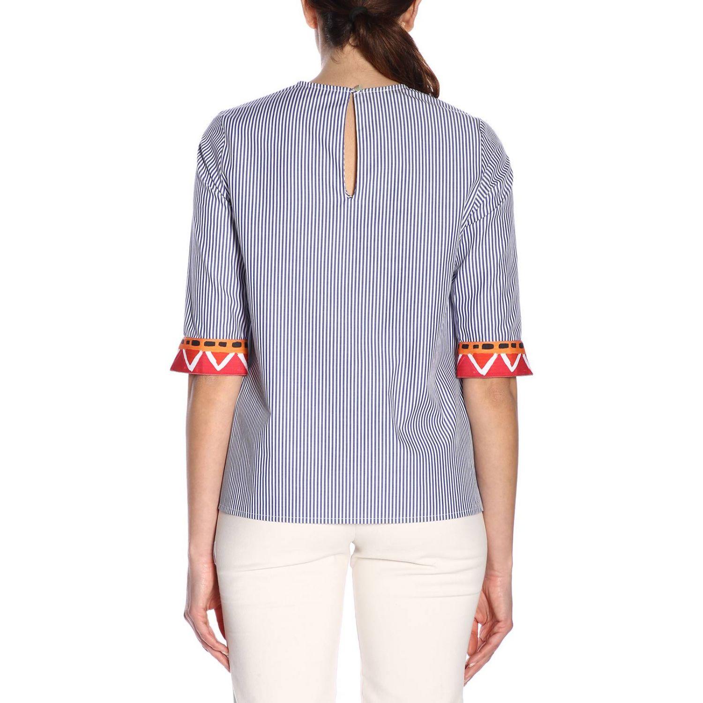 Girocollo cotone bacchettato bordi contrasto blue 3