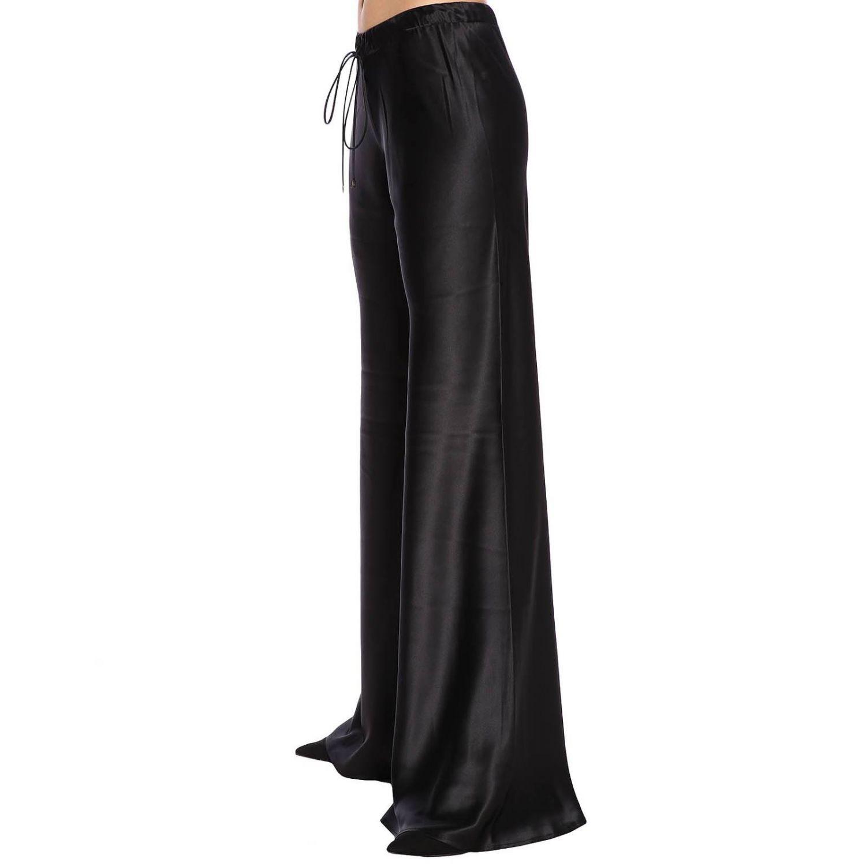 Pantalone Roberto Cavalli ampio in seta con coulisse nero 2