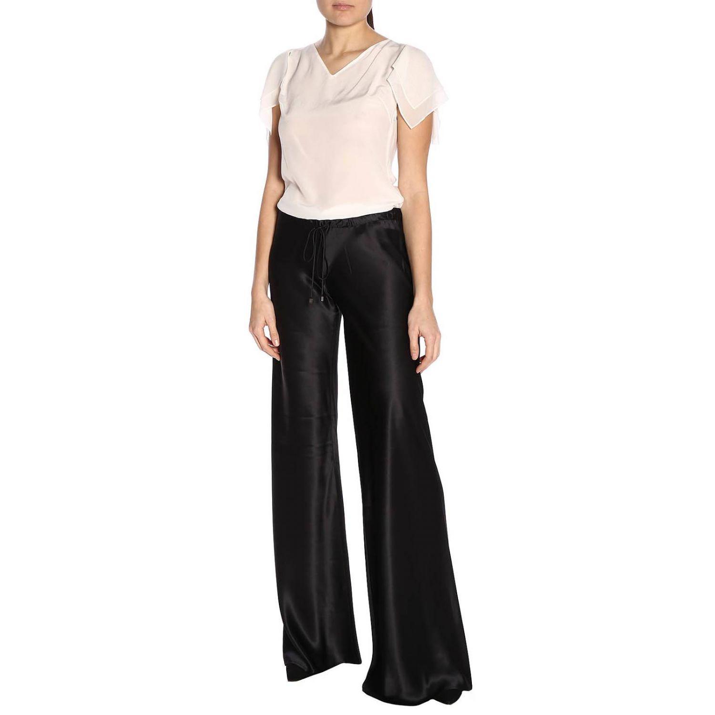 Pantalone Roberto Cavalli ampio in seta con coulisse nero 4