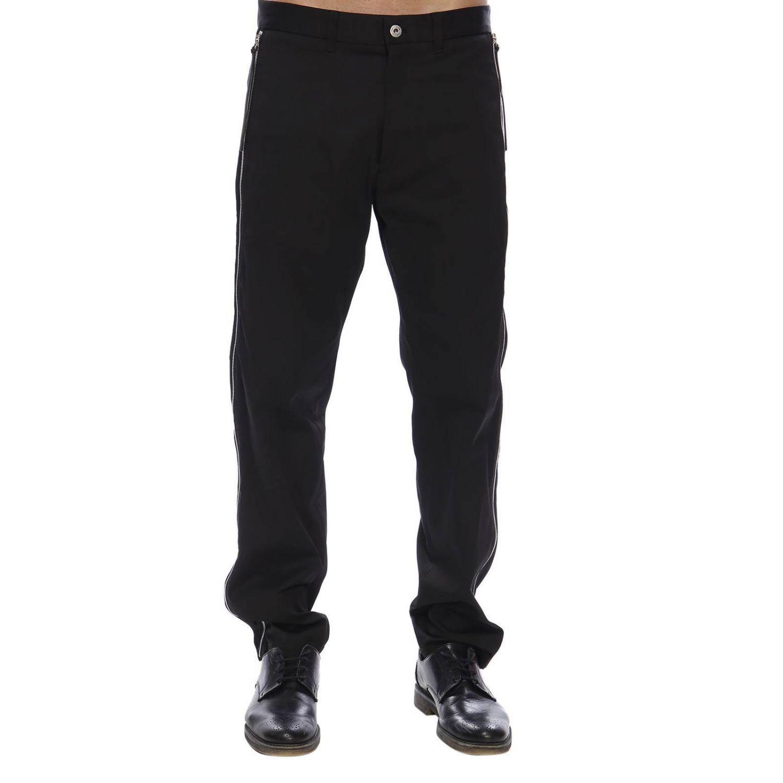 Pantalone regular fit a vita bassa con zip laterali e tasche america nero 1