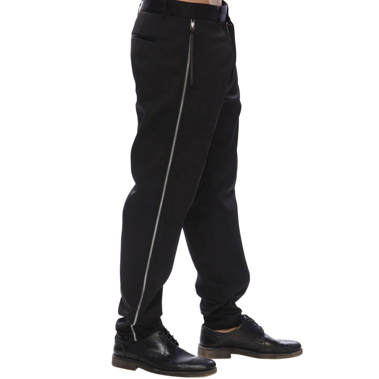 Pantalone regular fit a vita bassa con zip laterali e tasche america nero 2
