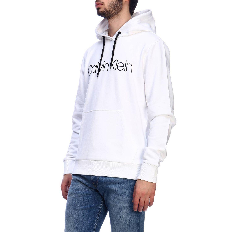Felpa a maniche lunghe con cappuccio e stampa by Calvin Klein bianco 2
