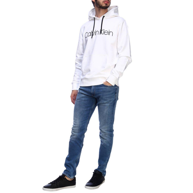 Felpa a maniche lunghe con cappuccio e stampa by Calvin Klein bianco 5