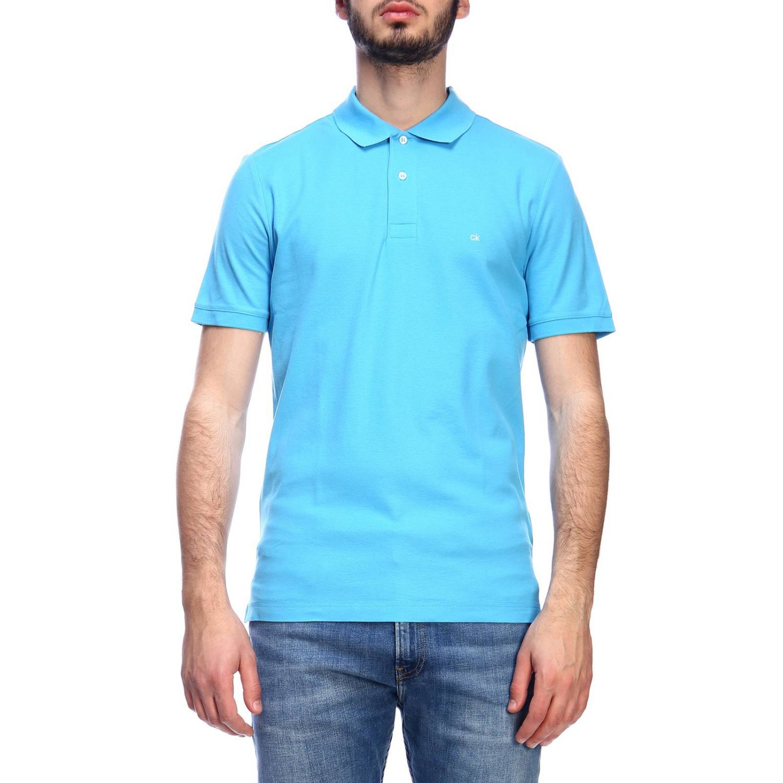 Polo Calvin Klein con mini logo azzurro 1