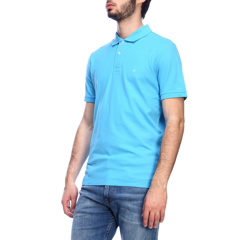 Polo Calvin Klein con mini logo azzurro 2