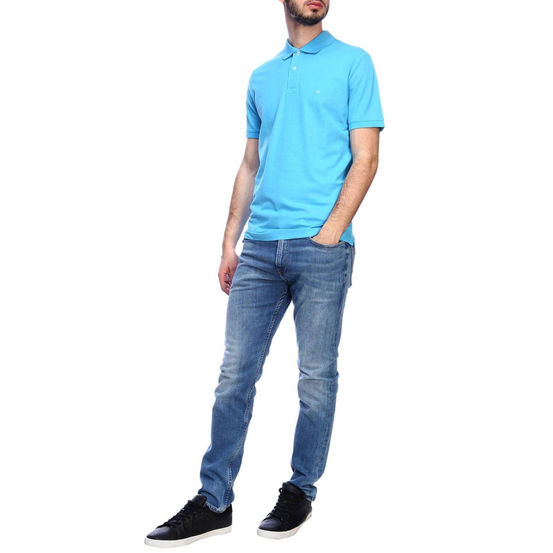 Polo Calvin Klein con mini logo azzurro 4