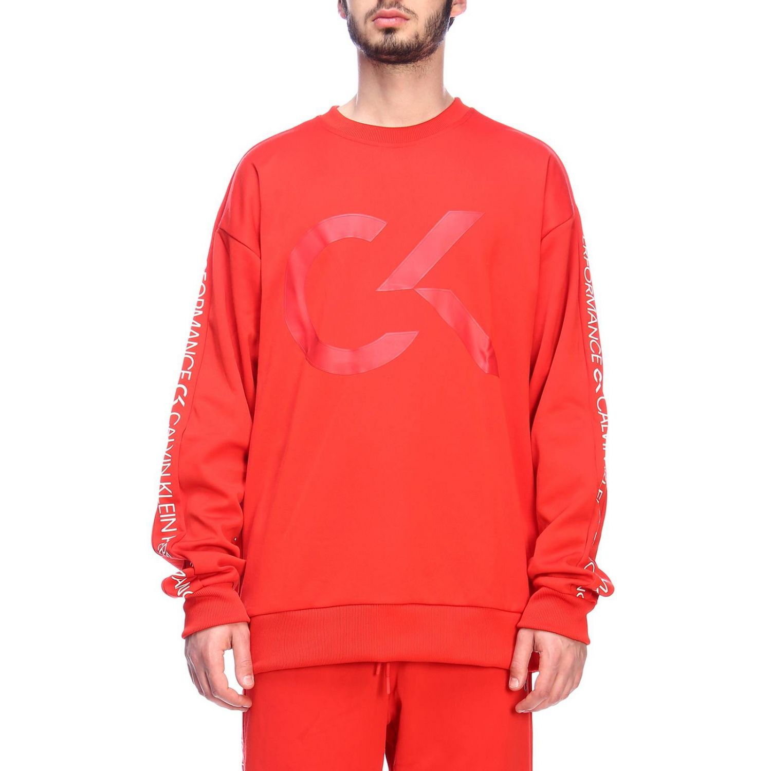 Pull homme Calvin Klein Performance rouge 1