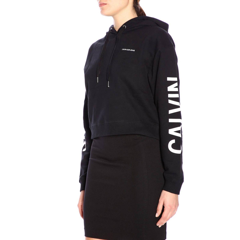 Felpa con cappuccio e logo Calvin Klein Jeans nero 2