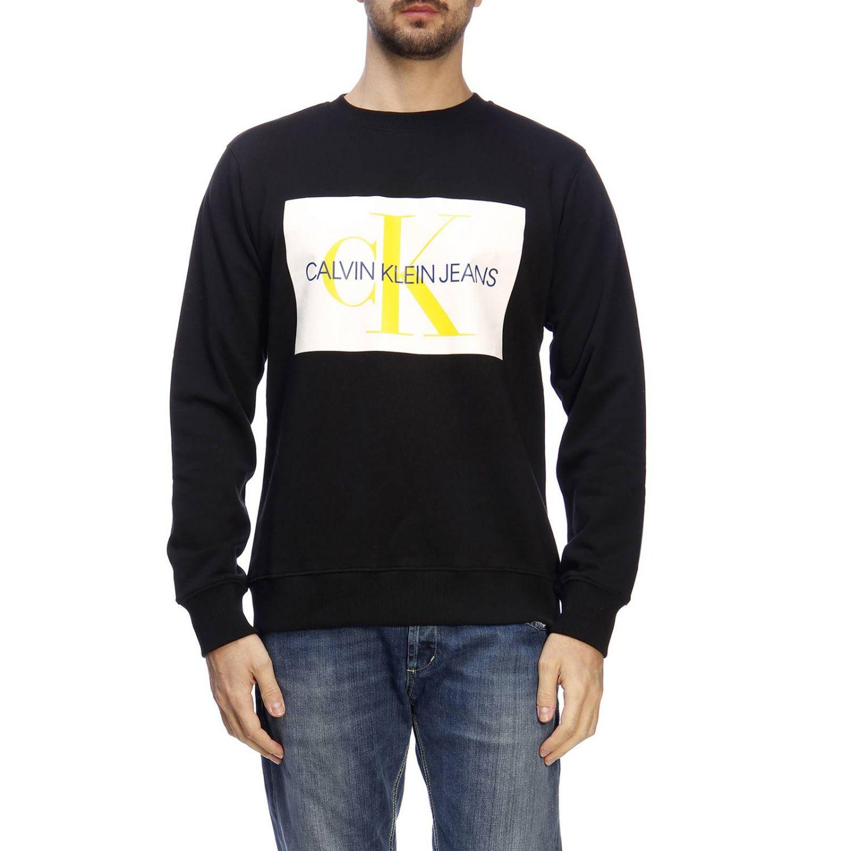 Felpa a maniche lunghe con stampa by Calvin Klein Jeans nero 1
