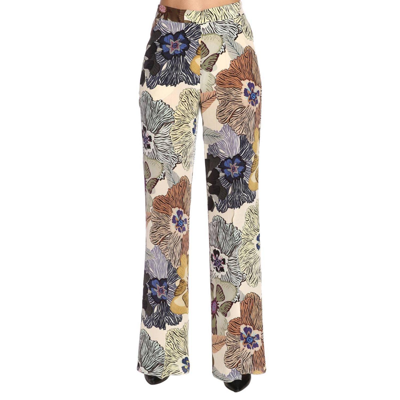 Pantalone ampio e fluido con fantasia floreale all over by Etro nero 1