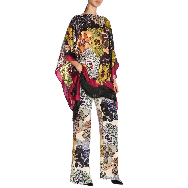 Pantalone ampio e fluido con fantasia floreale all over by Etro nero 4