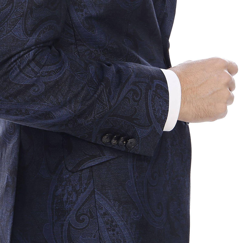 Giacca morbida ultra light monopetto a due bottoni con fantasia paisley blue 4
