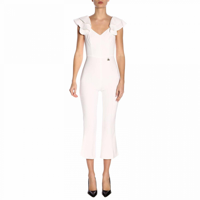 Tuta Elisabetta Franchi con spalline di rouches bianco 1