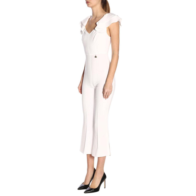 Tuta Elisabetta Franchi con spalline di rouches bianco 2
