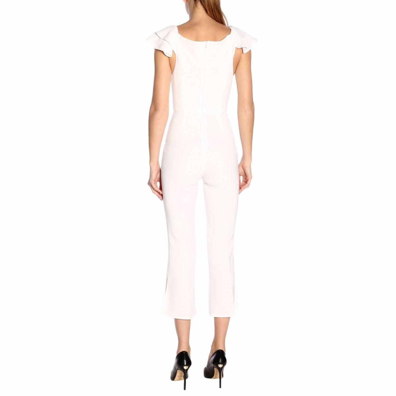 Tuta Elisabetta Franchi con spalline di rouches bianco 3