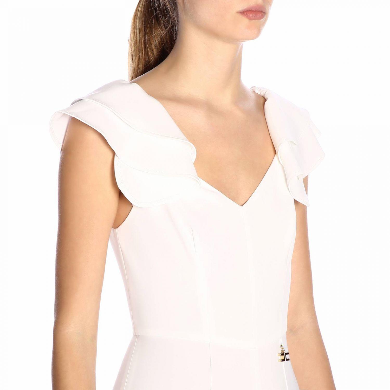 Tuta Elisabetta Franchi con spalline di rouches bianco 4
