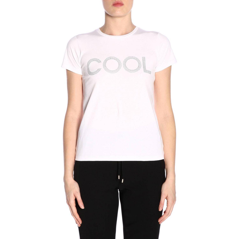 T-shirt a maniche corte con maxi scritta Cool di micro borchie bianco 1