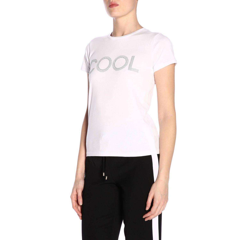 T-shirt a maniche corte con maxi scritta Cool di micro borchie bianco 2