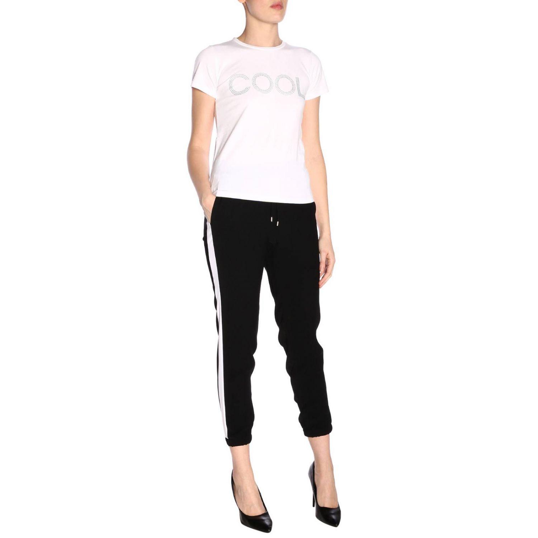 T-shirt a maniche corte con maxi scritta Cool di micro borchie bianco 4