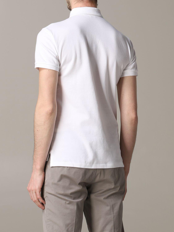 Polo a maniche corte slim fit in cotone a nido d'ape con logo Polo Ralph Lauren ricamato bianco 3
