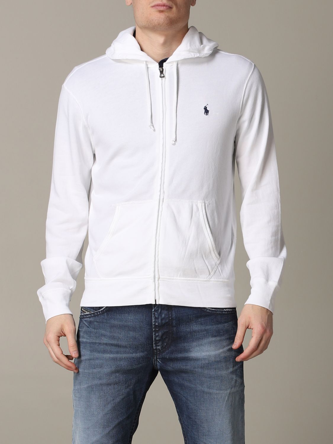 Polo Ralph Lauren sweatshirt with cotton hood white 1