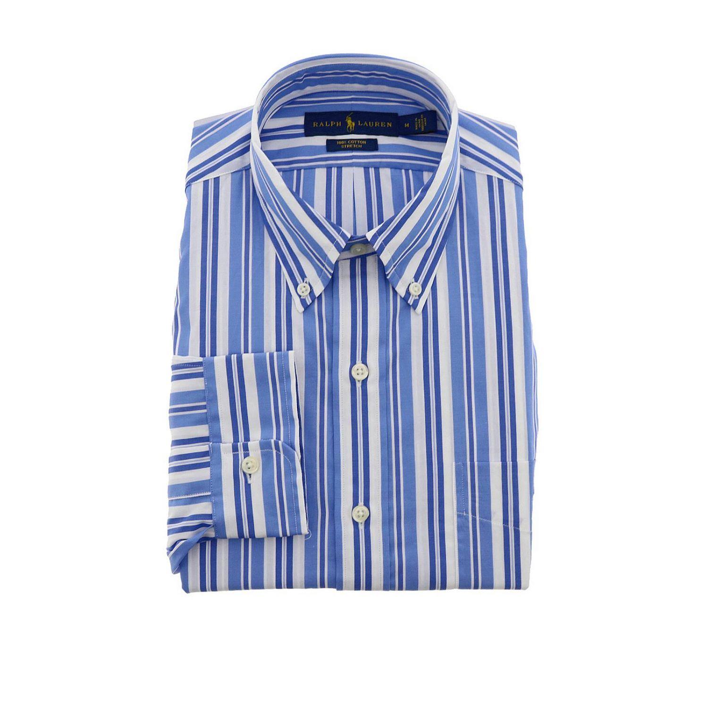 Camicia Polo Ralph Lauren con collo button down a righe azzurro 1