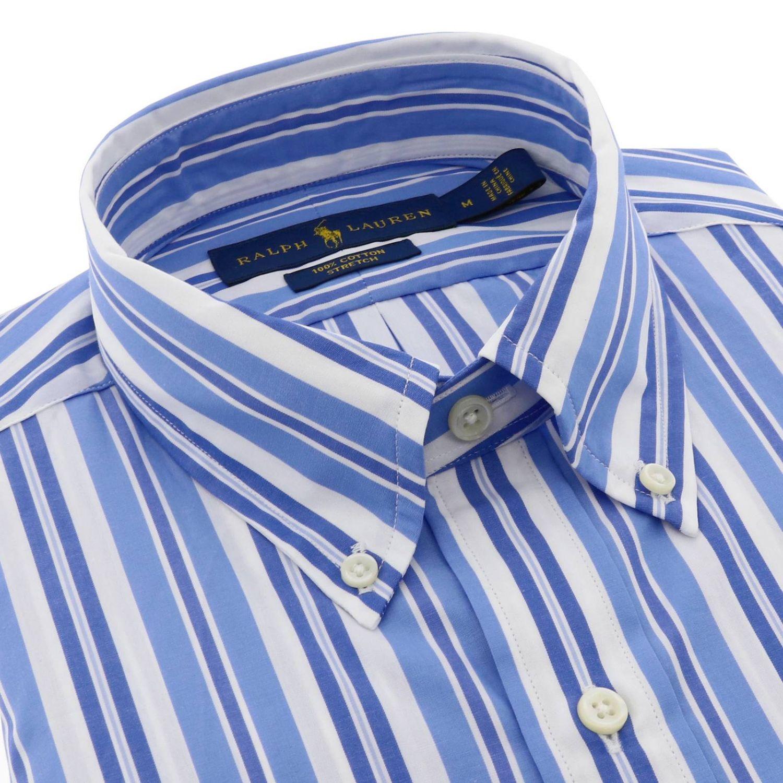 Camicia Polo Ralph Lauren con collo button down a righe azzurro 2