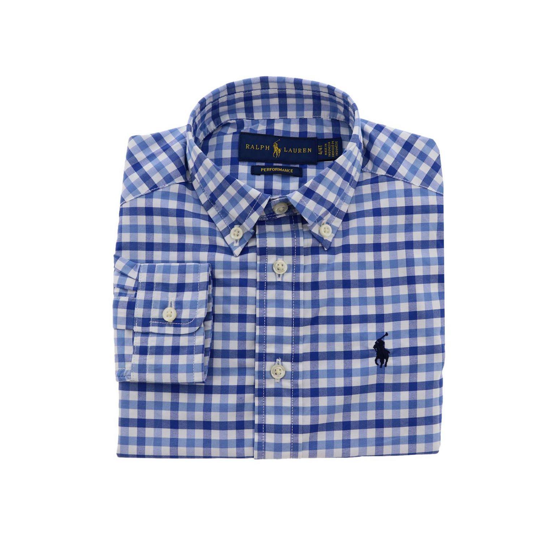 Camicia Polo Ralph Lauren Toddler con collo button down e fantasia vichy azzurro 1