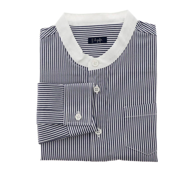 Camicia Il Gufo bacchettata con collo alla coreana blue 1