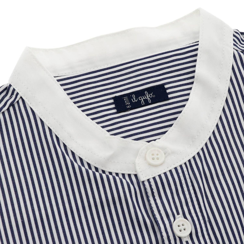 Camicia Il Gufo bacchettata con collo alla coreana blue 2