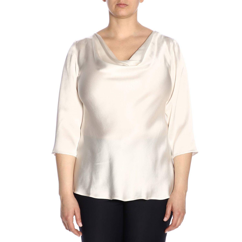 MARINA RINALDI Femmes Blanc Bene Imprimé Serrure Chemisier $295 Neuf avec étiquettes