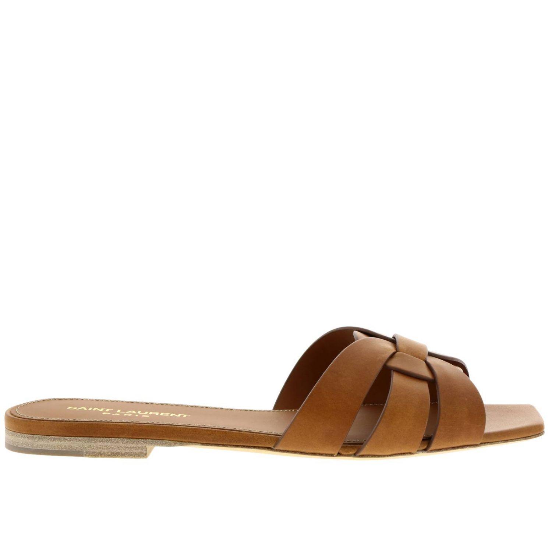 平跟凉鞋 Saint Laurent: 鞋 女士 Saint Laurent 黄棕色 1