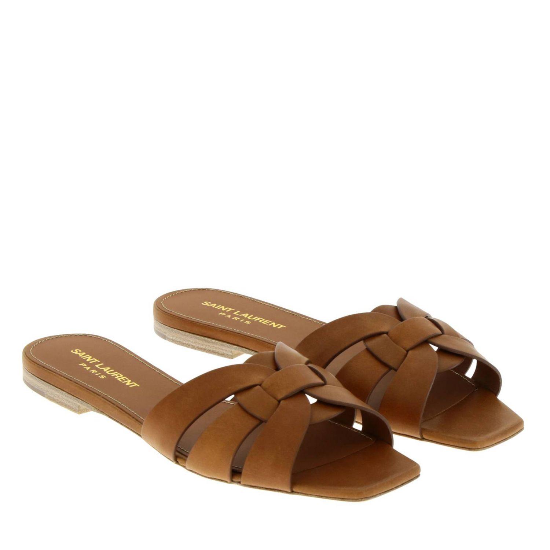 平跟凉鞋 Saint Laurent: 鞋 女士 Saint Laurent 黄棕色 2