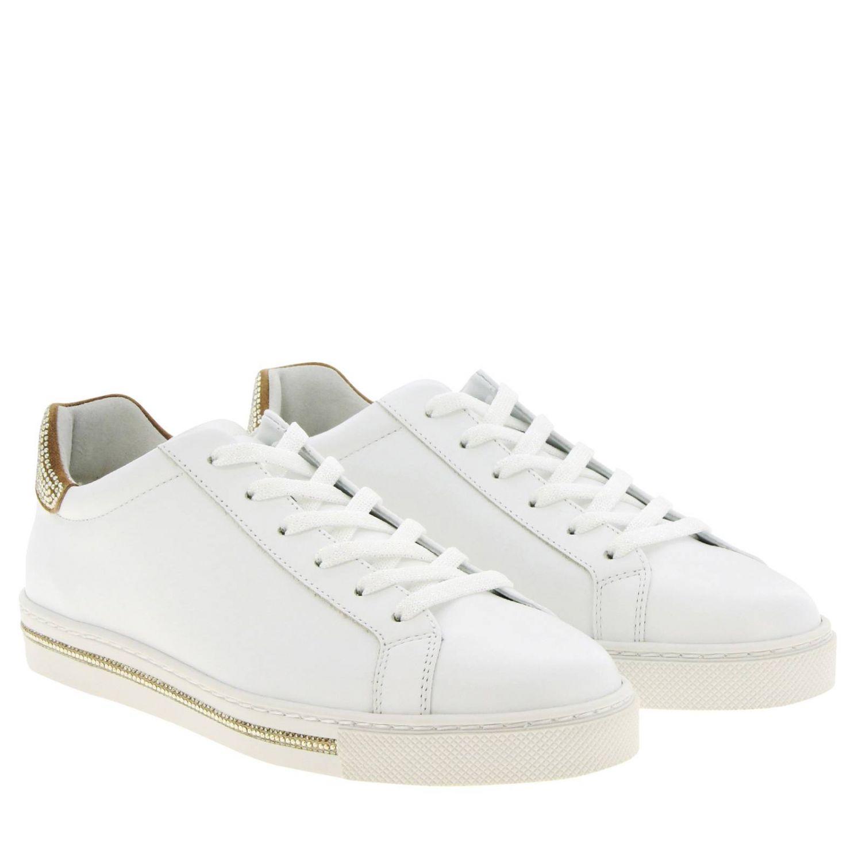 Sneakers stringata Rene Caovilla in pelle con tallone glitter bianco 2