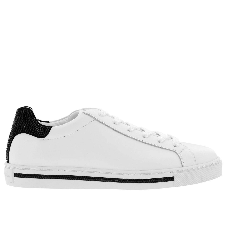 Sneakers stringata Rene Caovilla in pelle con tallone glitter bianco 1
