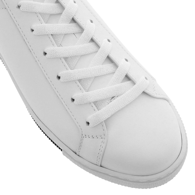 Sneakers stringata Rene Caovilla in pelle con tallone glitter bianco 3