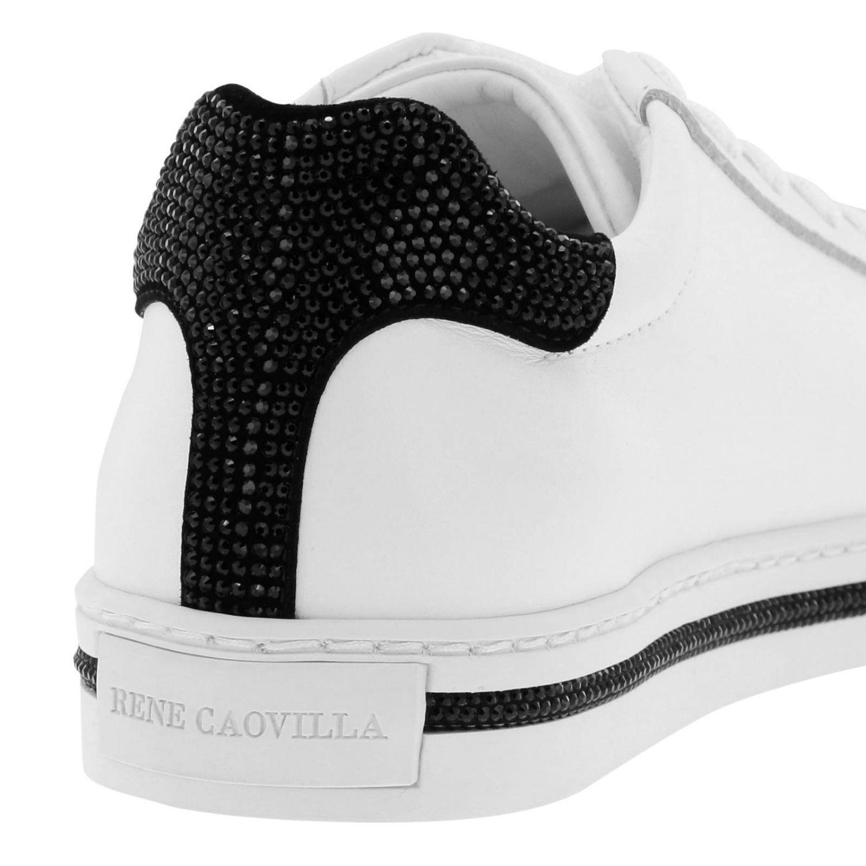 Sneakers stringata Rene Caovilla in pelle con tallone glitter bianco 4