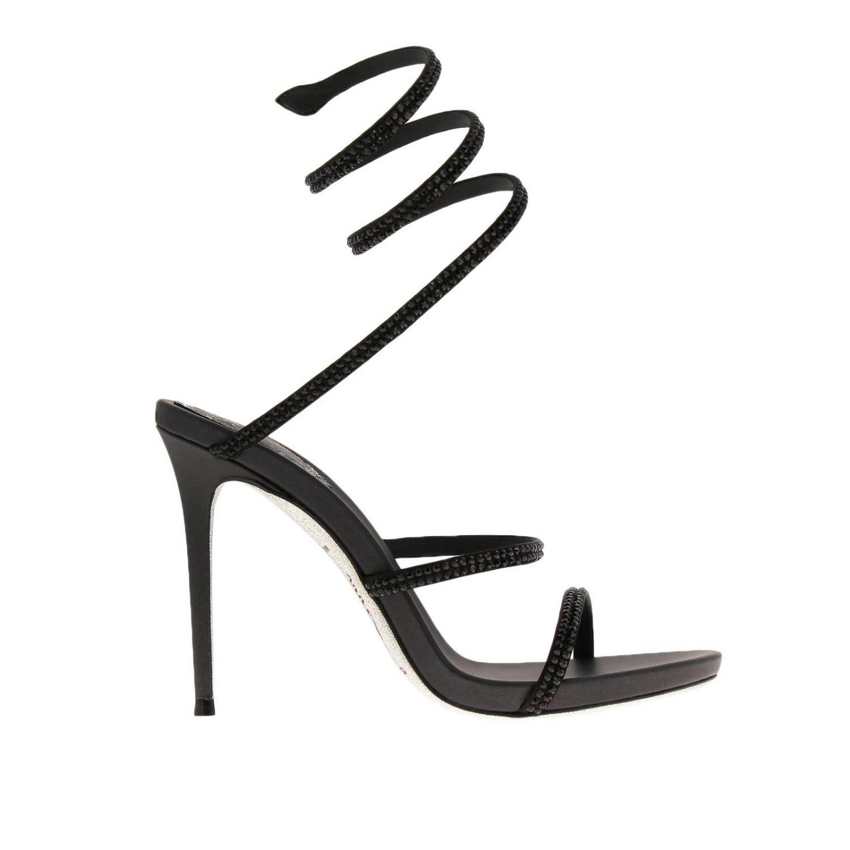 Sandalo Snake Rene Caovilla in raso con cristalli luminosi nero 1