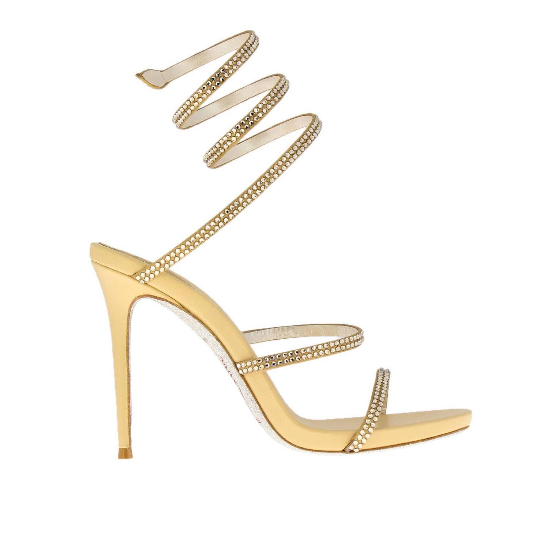 Sandalo Snake Rene Caovilla in raso con cristalli luminosi oro 1
