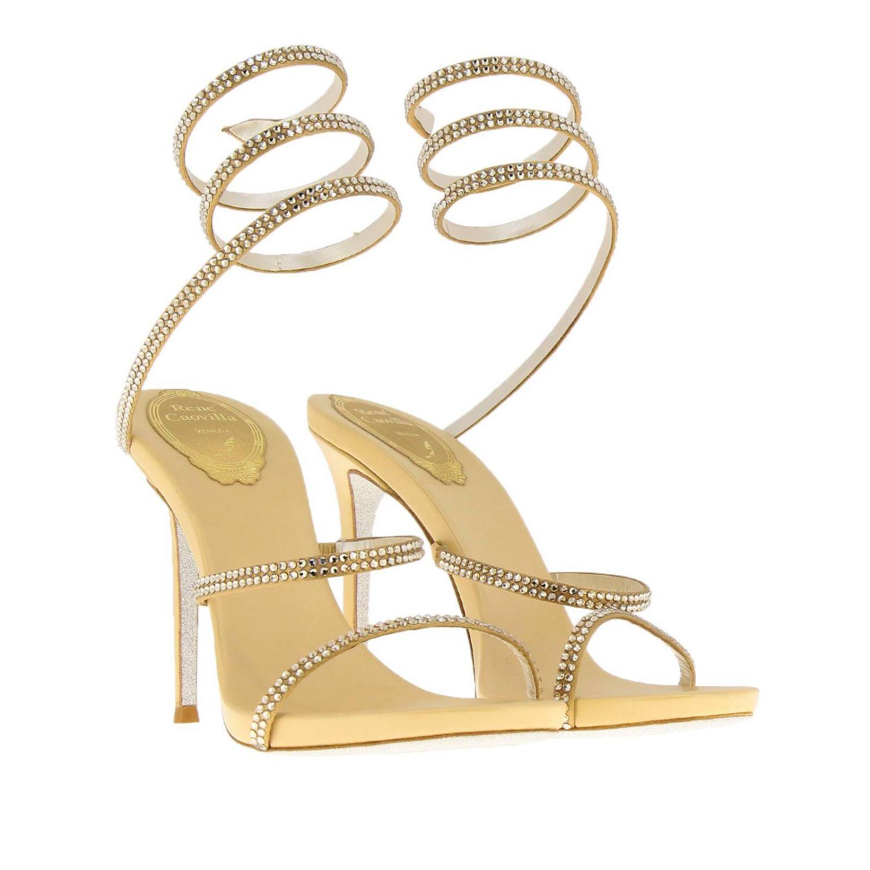 Sandalo Snake Rene Caovilla in raso con cristalli luminosi oro 2