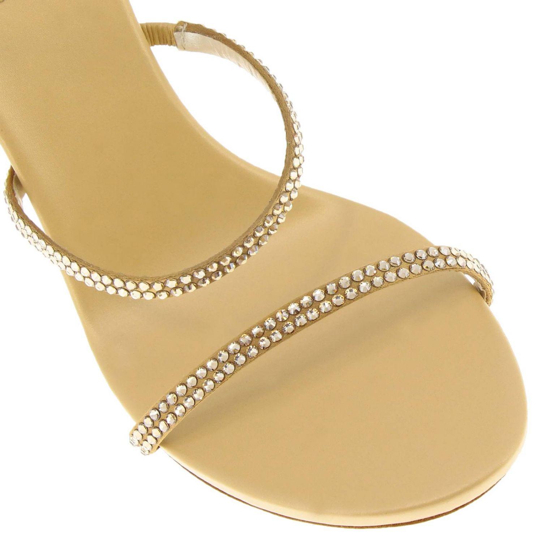 Sandalo Snake Rene Caovilla in raso con cristalli luminosi oro 3